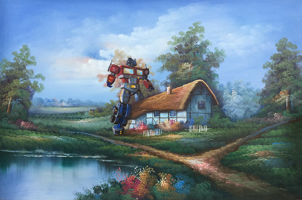 Go-with-the-Vlo-Optimus-Prime-Transformers-dave-Pollot-kunstwerk-schilderij