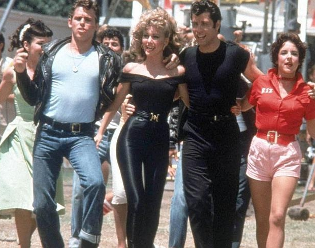 Grease Olivia en John en cast film go with the vlo