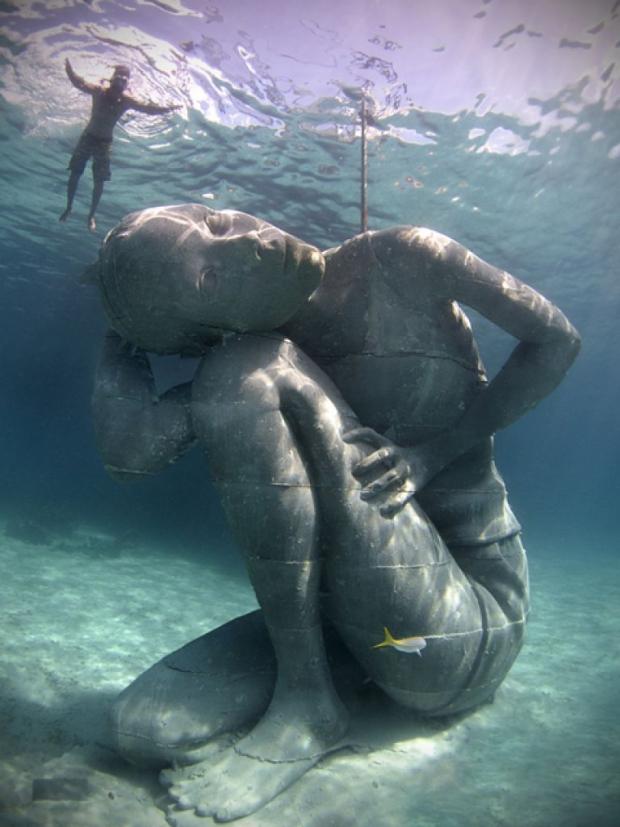 Onderwaterbeelden Jason deCaires Taylor schoonheid zee go with the vlo