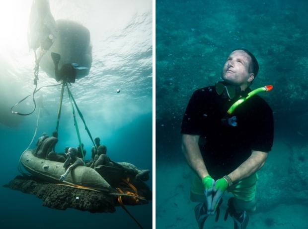 Onderwaterbeelden Jason deCaires Taylor vlot duiken go with the vlo