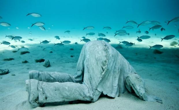 Onderwaterbeelden zeebodem kijken Jason deCaires Taylor go with the vlo
