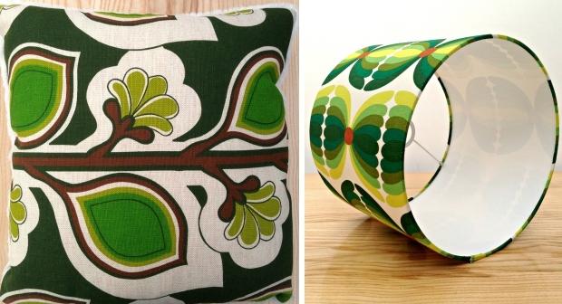 Groene kussens en lampenkappen go with the vlo