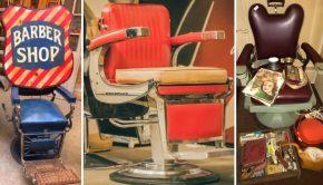 Iedereen in de vintage kappersstoel