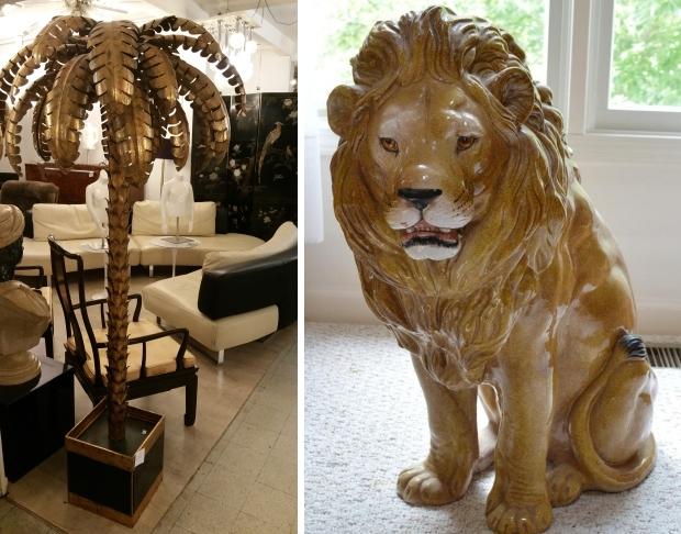 Palmbomen keramische leeuw beeld vintage go with the vlo