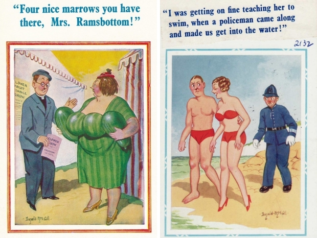 Saucy postcards Engeland Donald McGill go with the vlo