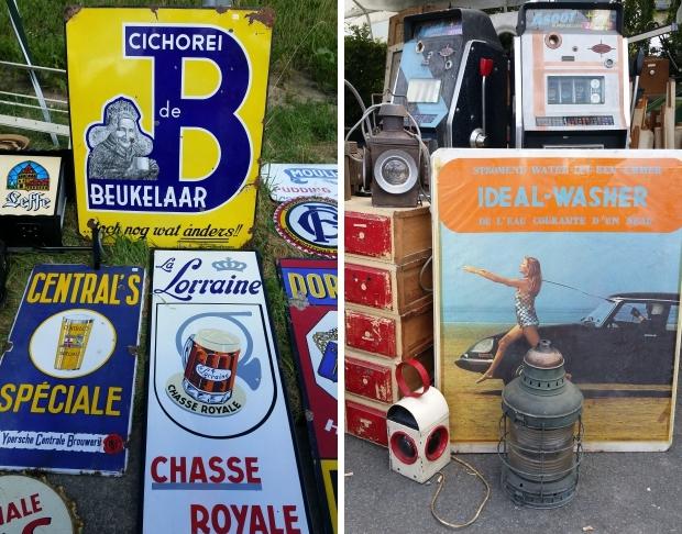 Brocante de Temploux België vintage reclameborden rommelmarkt go with the vlo