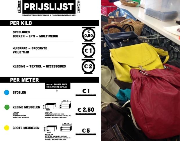 KiloMeet kringloop België prijslijst tweedehands tassen go with the vlo