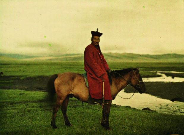 Mongoolse man op paard Wereld in kleur Allard Pierson Museum go with the vlo