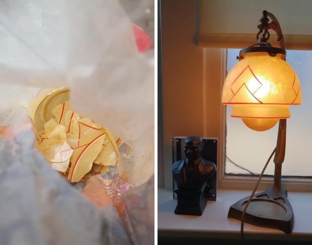 Art deco lampje glazen kapje kapot go with the vlo