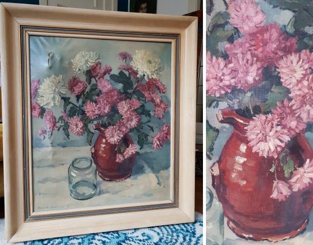 Clement Bezemer schilderij bloemen schoonmaken go with the vlo