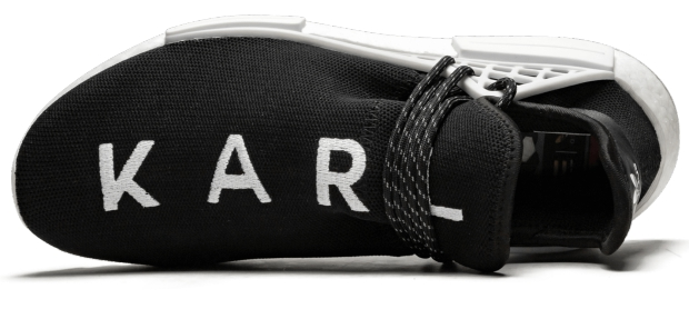 The Chanel x Pharrell x Adidas NMD Hu TR – 1-of-1 for Karl Lagerfeld go with the vlo