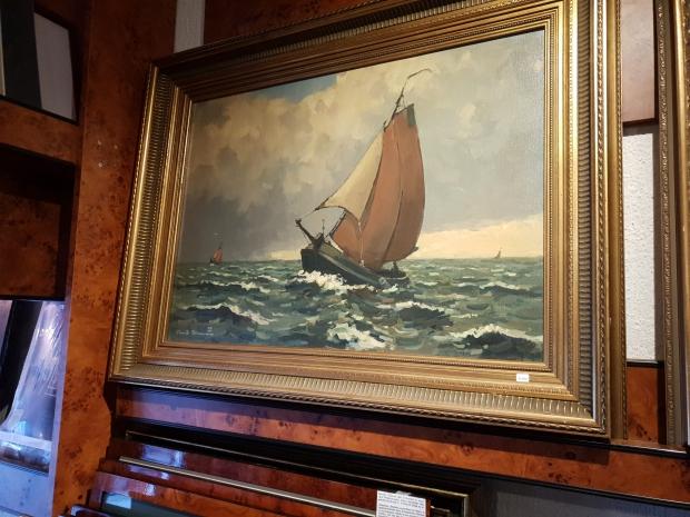 Antiquariaat Leo Meijer Schiedam opheffingsuitverkoop schilderij go with the vlo