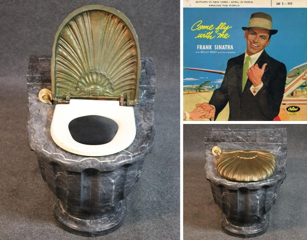 Frank Sinatra toilet marmer goud veiling go with the vlo