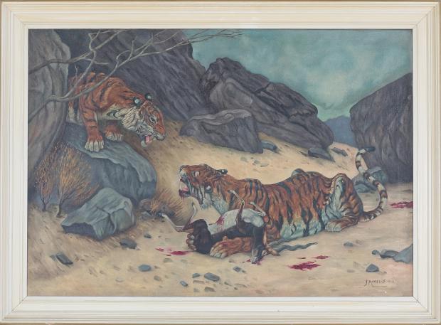Schilderij tijgers met prooi 1943 algemene veiling Vendu Rotterdam go with the vlo
